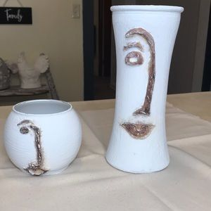 Abstract Man & Woman Face Vases